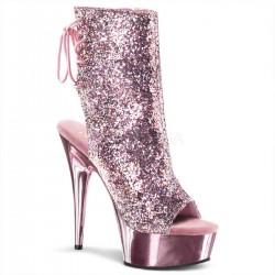 DELIGHT-1018G Rózsaszín pink nyitott orrú táncos bokacsizma