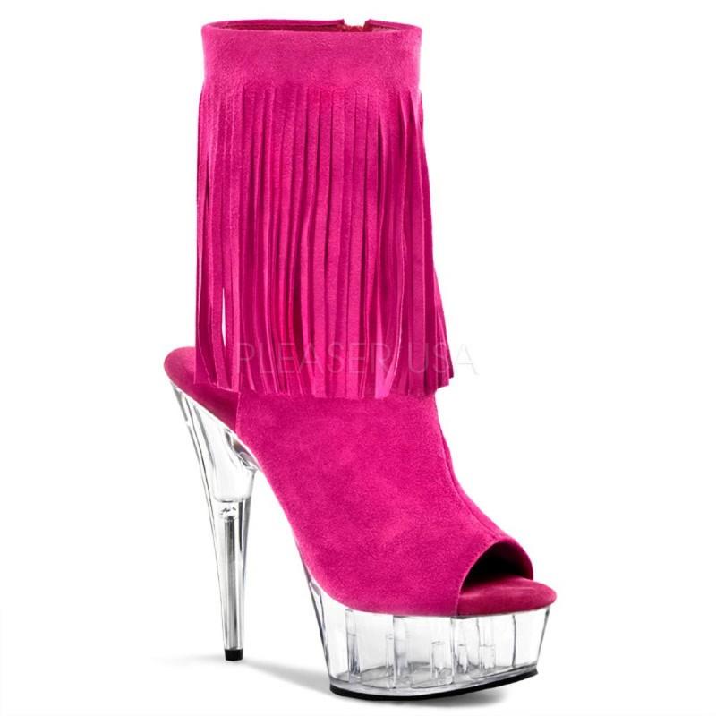 DELIGHT-1019 Rózsaszín pink nyitott orrú glamour szexi bokacsizma