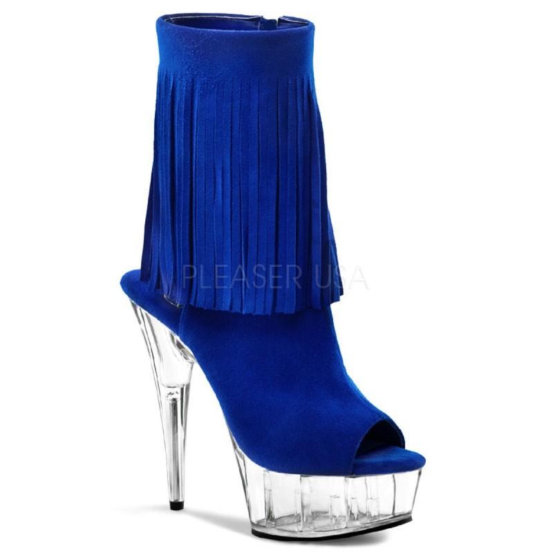 DELIGHT-1019 Kék nyitott orrú glamour szexi bokacsizma