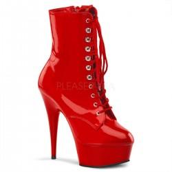 DELIGHT-1020 Piros fűzős táncos bokacsizma