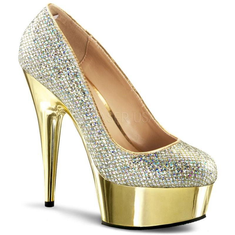 DELIGHT-685G Arany glamour szexi köröm cipő