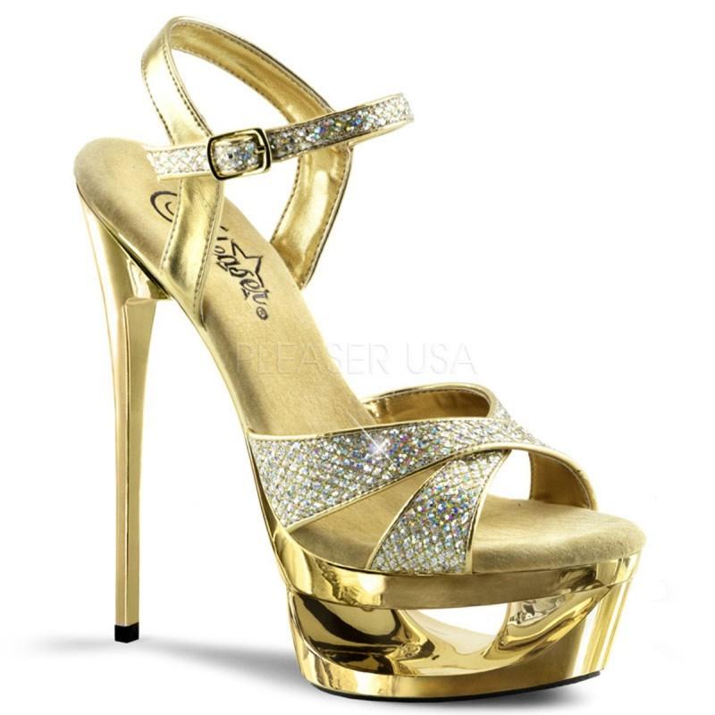 ECLIPSE-619G Arany strasszköves táncos cipő