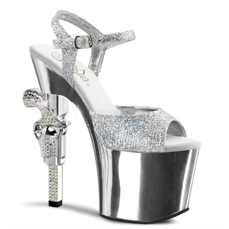 REVOLVER-709G Ezüst strasszköves táncos cipő