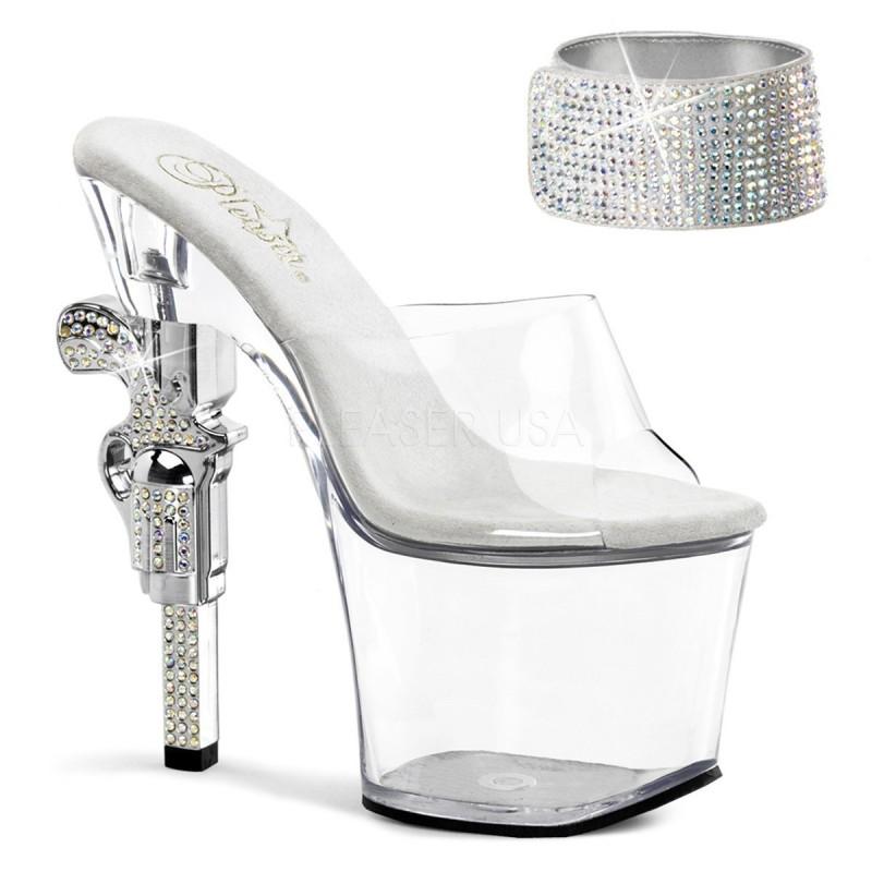 REVOLVER-712 Ezüst strasszköves táncos cipő